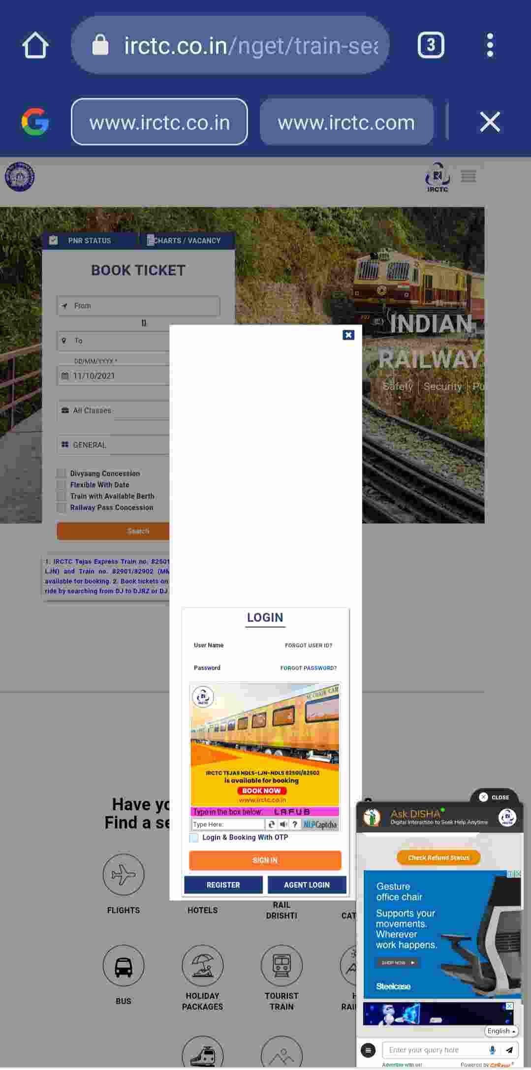 Visit IRCTC Official Website and Login